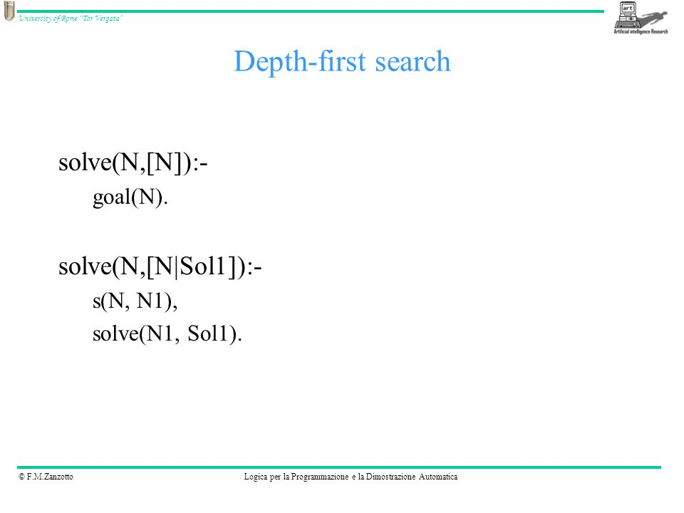 Depth-first search solve(N,[N]):- solve(N,[N|Sol1]):- goal(N).